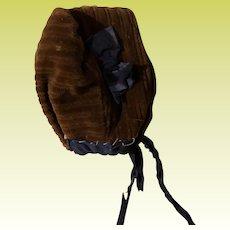 Antique Brown Hand Made Doll Bonnet