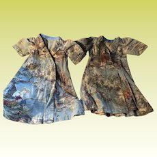 Antique Twin Cotton Hand Sewn Doll Dresses