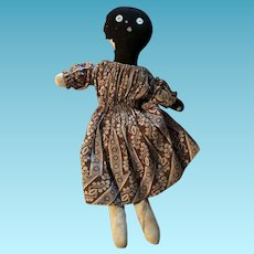 Antique American Folk Art Black Americana Cloth Rag Doll