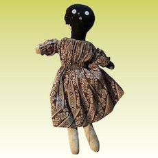 Antique American Folk Art Black Americana Cloth Rag Doll