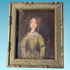 Antique Primitive Folk Art Watercolor Portrait Painting