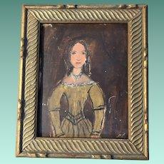 Antique Primitive Folk Art Watercolor Portrait Painting