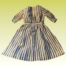 Antique Handmade Pin Striped Doll Dress