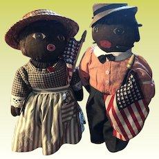 Antique Folk Art Stockinette Black Americana Patriotic Sock Dolls