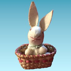 Old Miniature Felted Cloth Stuffed Bunny With Basket