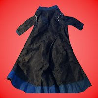 Antique Early Lined Hand Made Satin Doll Dress