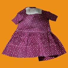 Antique Hand And Machine Sewn Calico Doll Dress