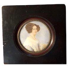 Antique Victorian Folk Art Portrait Painting