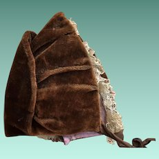 Antique Velvet Early Victorian Doll Bonnet