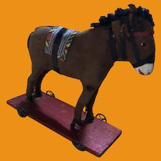 Antique Miniature German Platform Rare Donkey On Wheels