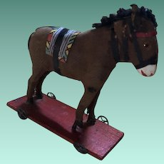 Antique Miniature German Platform Rare Donkey On Wheels