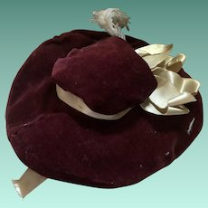 Antique Velvet Fashion Doll Hat