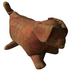 Antique Early Folk Art Pa. Plaid Cloth Doggy