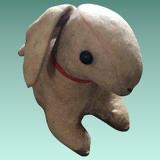 Antique Cloth Straw Stuffed Shoe Button Eye Bunny Rabbit