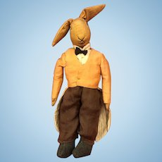 Old Cloth Straw Stuffed Stitched Face Rabbit