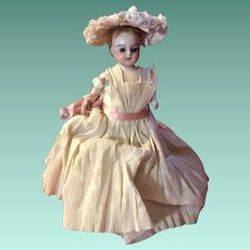 Antique German Glass Eyed Crepe Paper Dressed All Bisque Doll Candy Container