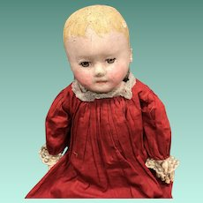 """Antique 20"""" Early Brown Eyed Cloth Chase Doll"""