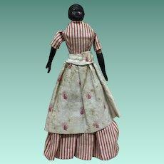 Antique German Black Rare Milliner Model Doll Circa 1850