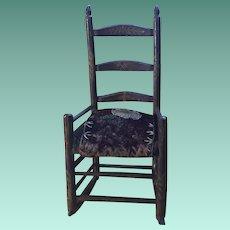 Antique Early Folk Art Theorem Paint Decorated Miniature Pin Cushion Velvet Ladderback Chair