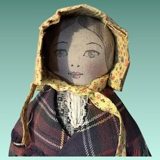 Antique Folk Art Hand Made cloth Mascot Doll