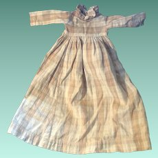 Antique Early Plaid 19th Century Pa Doll Dress