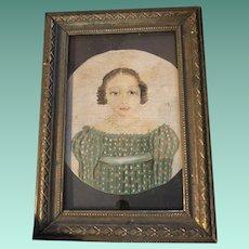 Old Folk Art Miniature Painted Portrait On Hard Canvas