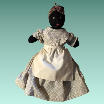 Antique Folk Art Cloth Black Americana Sock Rag Doll