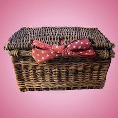 Antique French Fashion Doll Food Picnic Basket