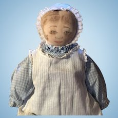 Antique Moravian Polly Heckewelder Cloth Rag Doll