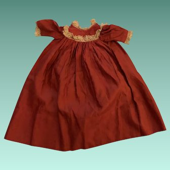 Antique Early Red Doll Dress With Lace Trim