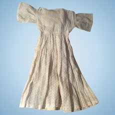 Antique Early Cotton Polka Dot 19th Century Doll Dress