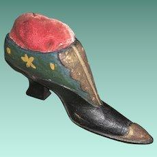 Antique Victorian Wooden Folk Art Painted Pin Cushion Shoe