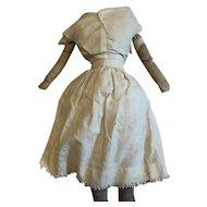 Antique Folk Art Cloth 19th Century Doll Body With Striped Socks
