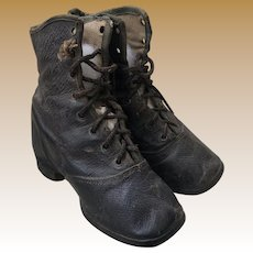 Antique Victorian Leather Lace Up Child's Black Shoes
