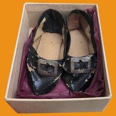 Antique Fashion Doll Oil Cloth Black Buckle Doll Shoes