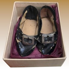 Antique Fashion Doll Oil Cloth Black Buckle Doll Shoes