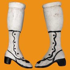 Antique German Porcelain Rare Doll Legs