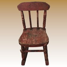 Antique Red Miniature Salesman Sample Primitive Rocker