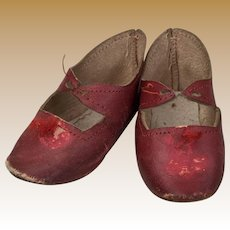 Antique Red Leather Doll Shoes