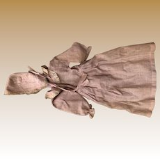 Antique Pink Gingham Doll Dress With Matching Bonnet