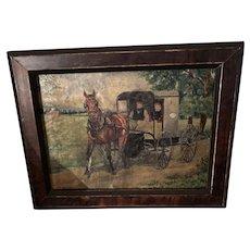 American Folk Art Miniature Lancaster PA Amish Oil Painting On Canvas
