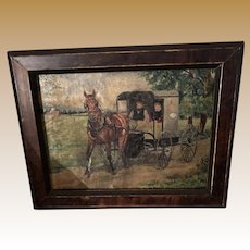 American Folk Art Miniature Lancaster PA Amish Oil Painting On Canvas