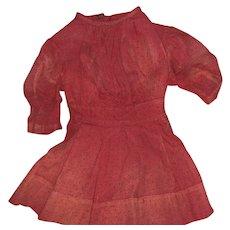 Antique Red Polka Dot 19th Century Child's  Dress