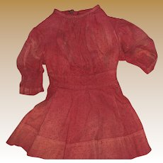 Antique Red Polka Dot 19th Century Child's  Dress