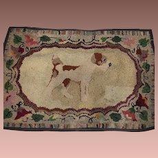 Antique Folk Art Hand Hooked Dog Rug