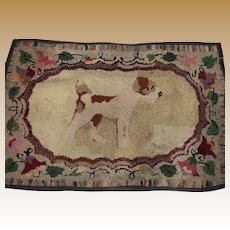 Antique Folk Art Hand Hooked Dog Rug