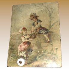 Antique German Lithograph Crank Child's Toy Music Box