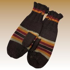 Antique Early Pair Of New England Wool Striped Mittens