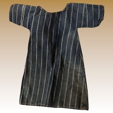 Antique Blue Indigo Striped Frock Doll Dress