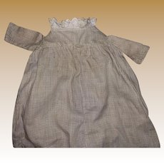 Antique Calico Empire Waist Early Pa  Doll Dress